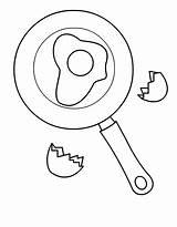 Egg Coloring Fried Pan Frying Drawing Pages Cartoon Break American Getcolorings Printable Getdrawings sketch template