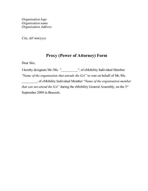 proxy power  attorney form