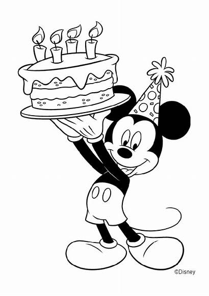 Mickey Birthday Mouse Coloring Happy Cake Party