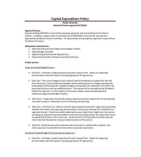 8+ Capital Expenditure Budget Templates  Free Sample