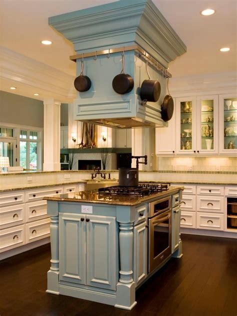 vent hood doubles  pot rack  transitional kitchen hgtv