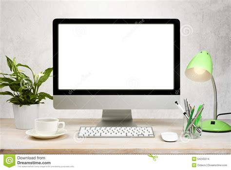 workspace background with desktop pc and office