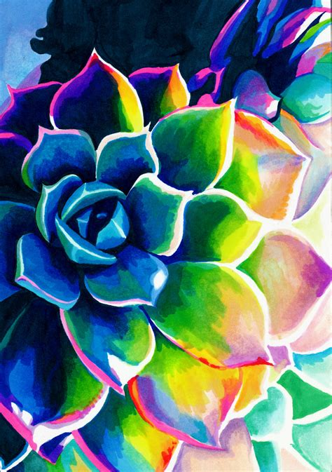 Famous Art Desktop Wallpaper Supplication Succulent Colorful Rainbow Spiritual Vivid Neon