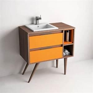 Meuble Salle De Bain A Poser : meuble de salle de bain 80 cm poser britannia et tiroirs orange tropcoul ~ Teatrodelosmanantiales.com Idées de Décoration