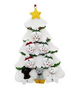 family tree 5 with up to 3 pets personalized ornament