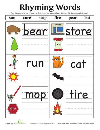 14 best images about rhyming worksheets on