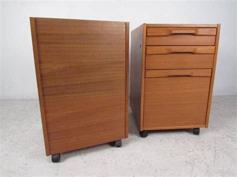 danish teak file cabinet pair of mid century danish teak filing cabinets by denka