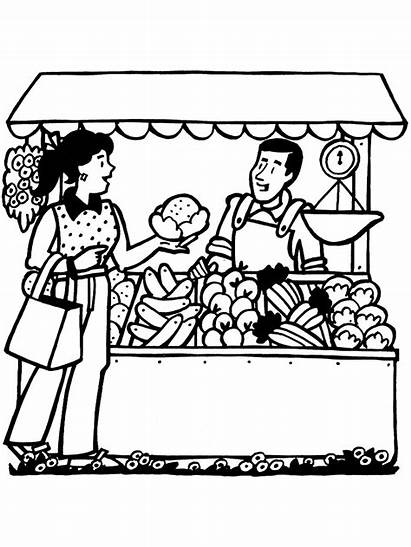 Clipart Market Coloring Pages Fruit Vegetable Primarygames