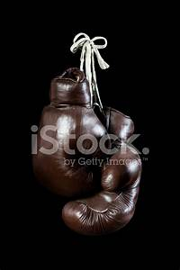 Old Boxing Gloves, Hanging, Isolated on Black Background ...