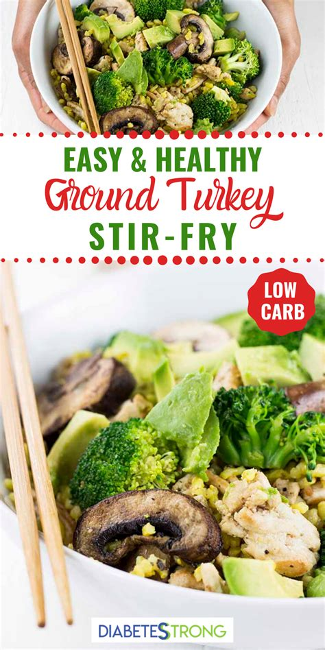 Ground turkey transforms into burgers, soups and more to create a dinner that's low in saturated fat, sodium and calories. Healthy Turkey Stir-Fry (Low-Carb) | Recipe in 2020 | Healthy ground turkey, Turkey stir fry ...