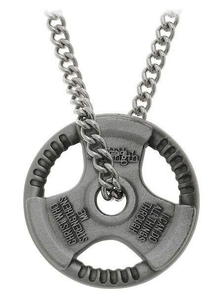 mens antique finish grip plate necklace phil shields  strength ebay