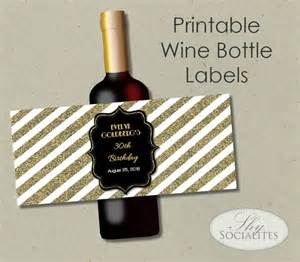 custom wedding presents black gold glitter printable wine label hostess gift