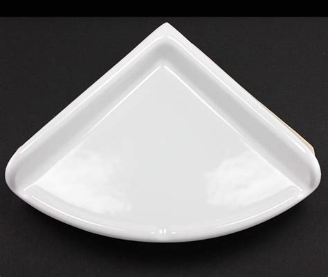 lenape large white ceramic corner shower shelf