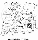 Farmer Hay Clipart Fresh Pushing Wheel Happy Outlined Barrow Illustration Coloring Visekart Royalty Vector Barn Silo Pages Wedding Printable Clipartof sketch template