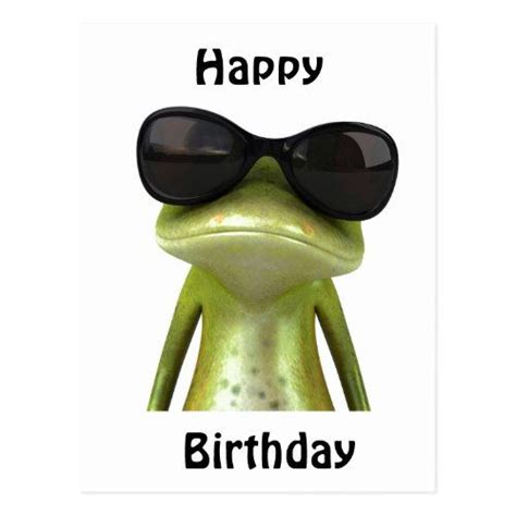 happy birthday cool frog postcard zazzle black
