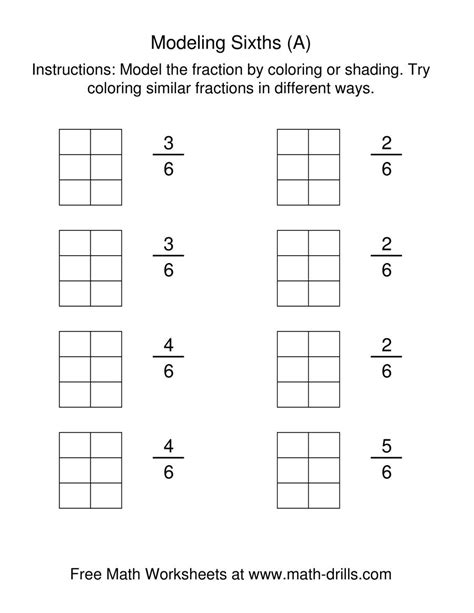coloring fraction models sixths  fractions worksheet