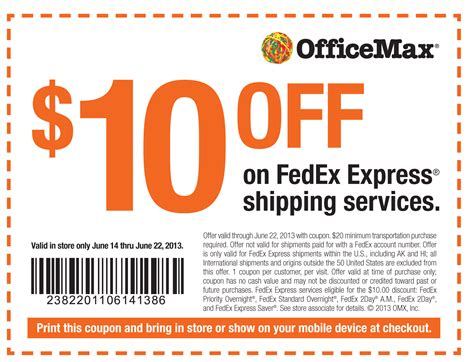 discount bureau 10 office max coupon for fedex shipping print