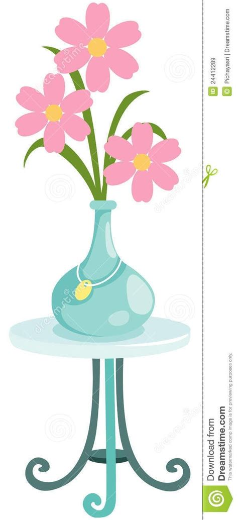 beautiful flower vase   table clipart beautiful