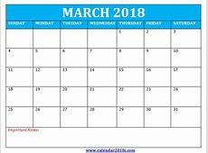 Blank Template March 2018 Calendar 2018