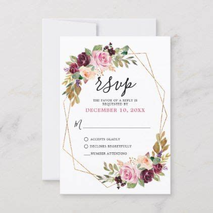 Plum Purple Blush Pink Botanical Floral Wedding RSVP Card