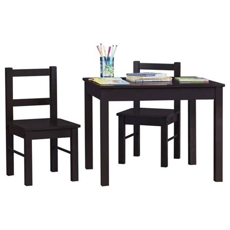 3 wood table and chair set in espresso