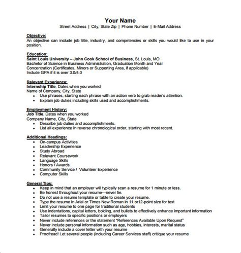 Company Resume by Business Resume Template 11 Free Word Excel Pdf