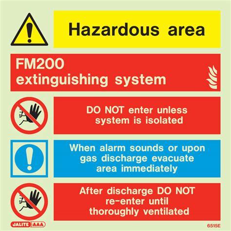 fm photoluminescent extinguishing system sign