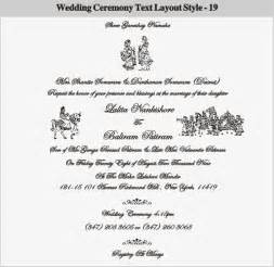 wedding ceremony sles hindu wedding invitation card wordings in language mini bridal