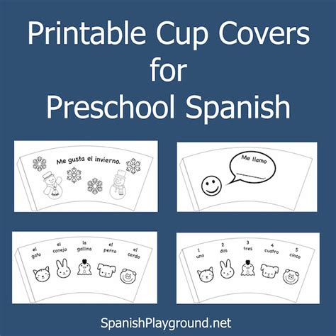 preschool spanish printable cup covers spanish playground