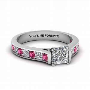 Princess cut personalized pave accent diamond engagement for Princess cut pink diamond wedding rings