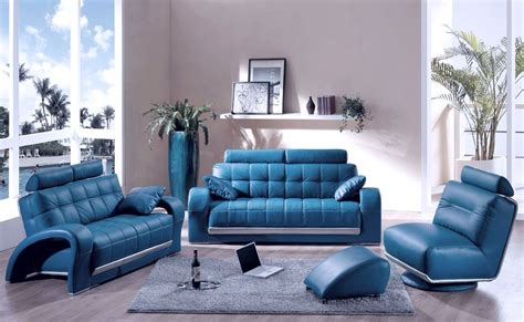 decorating  room  blue leather sofa traba homes