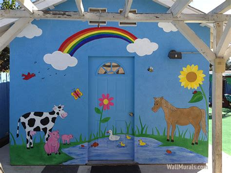 preschool wall murals daycare mural examples wall 872 | farm animal daycare mural
