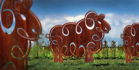 garden sculptures metal sculpture sheep contemporary outdoor ornaments rusted backyard whimsical round hardy welcome
