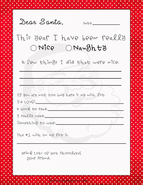 letter to santa template writing activities for