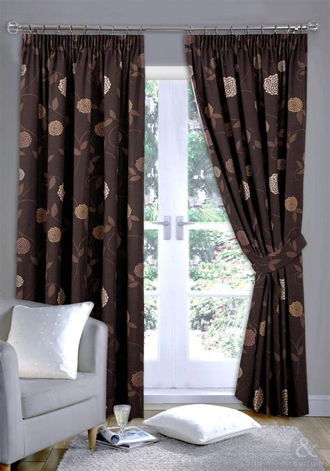 rosa chocolate brown ready made pencil pleat curtain