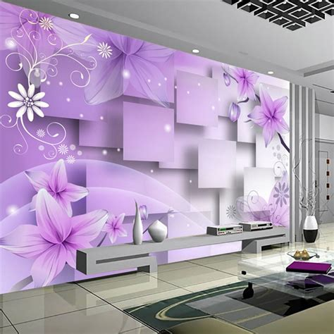 Abstract Wallpaper Room by Modern Minimalist Purple Flowers 3d Stereoscopic Abstract