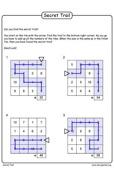 secret trail worksheet printable math game worksheets