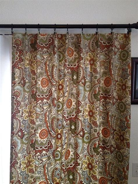 curtain panels in multi colored earth tone home decor