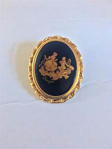 Limoges Castel Porcelain And Enamel Gold Tone Cameo Brooch Circa 1950s