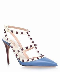 Valentino Baby Blue Leather Rockstud 100 T-bar Courts in ...