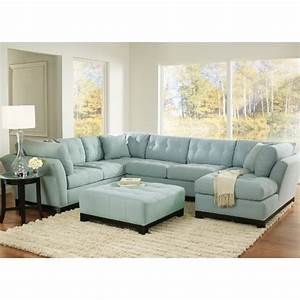 Light blue suede sectional a new sofa is becoming for Red sectional sofa art van