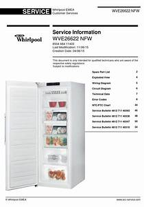Whirlpool Wve26622 Nfw Freezer Service Manual And