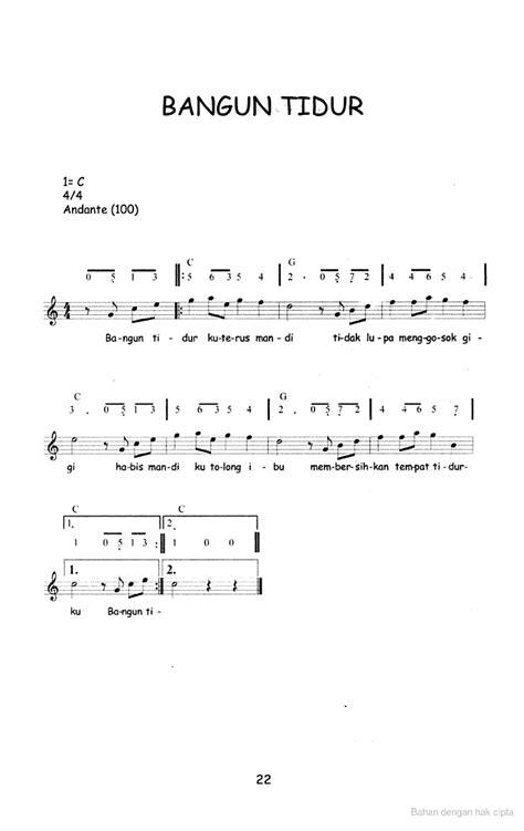 pianika lagu laskar pelangi not angka lagu anak anak bangun tidur