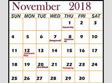 November 2018 Calendar with Holidays Download December