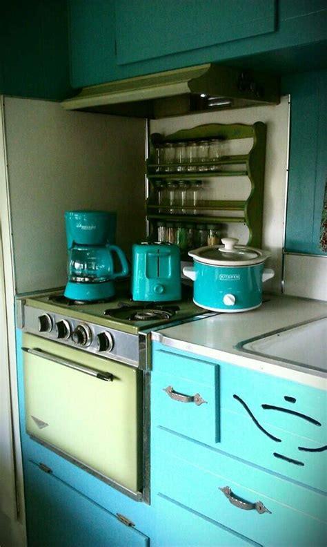 vintage retro camper kitchen teal turquoise avocado  aladdin interiors pinterest