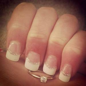 French acrylic Manicure with a silver line--I want these ...