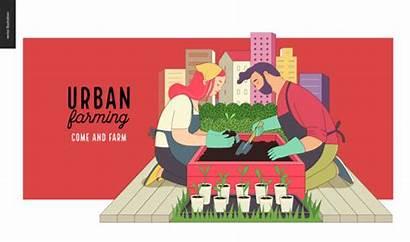 Urban Farming Gardening Illustration Vector Clip Farm