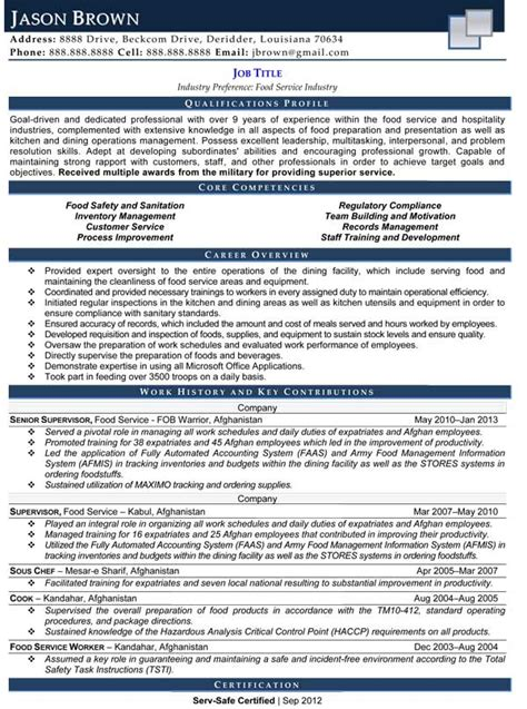 Food Service Resume by Food Services Resume Exles Resume Professional Writers