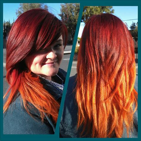 red hot flame ombreafter stripping  hair color