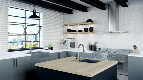 industrial modern kitchen designs the stellen collection pfister faucets kitchen bath 4676